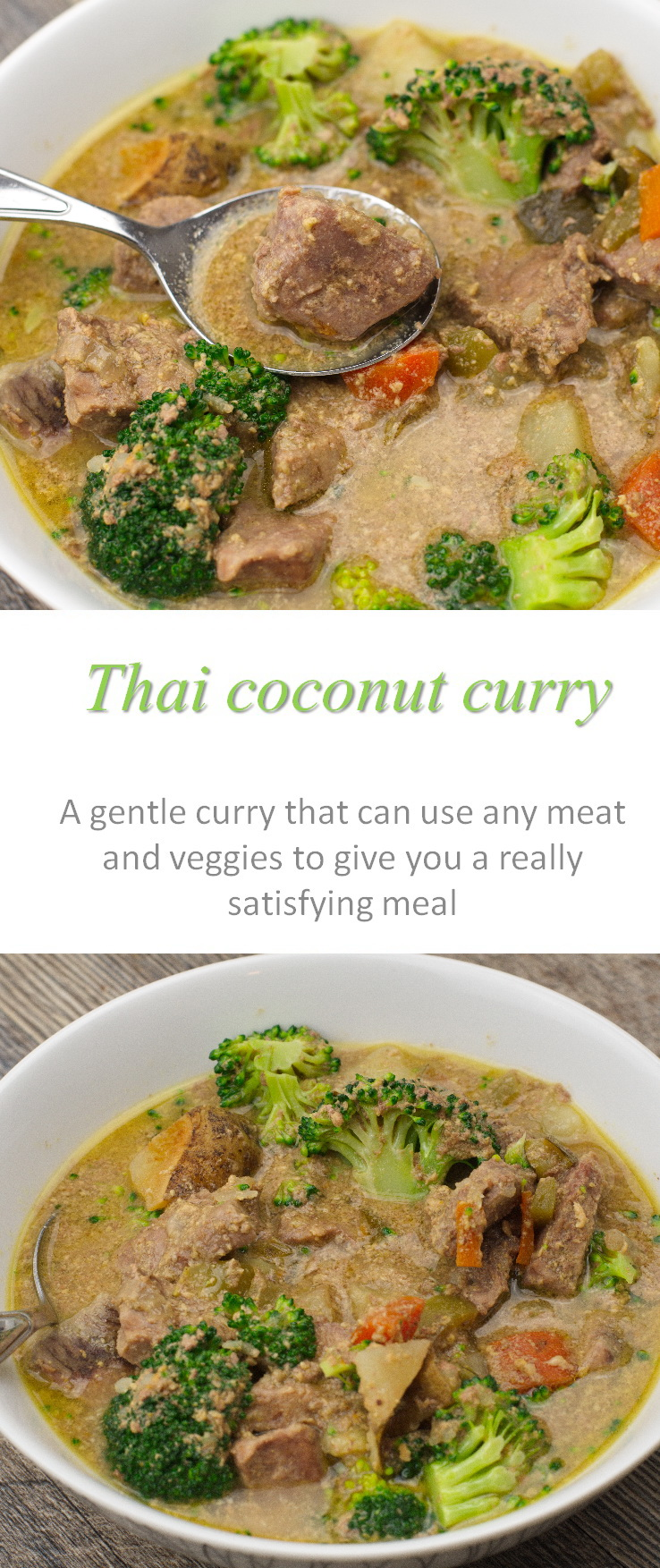 Thai beef coconut curry - with spices gentle enough for the whole family, but with a taste that will transport you to another country!  And Whole30 compliant too! #curry