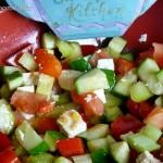 Tomato, cucumber and feta salad