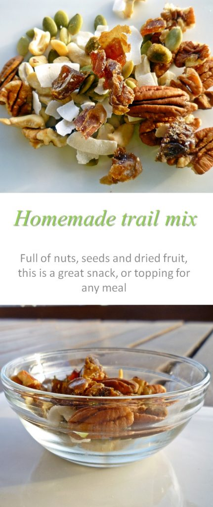A snack, or a topping for any breakfast, this trail mix is full of healthy nuts, dried fruit and seeds. #trailmix