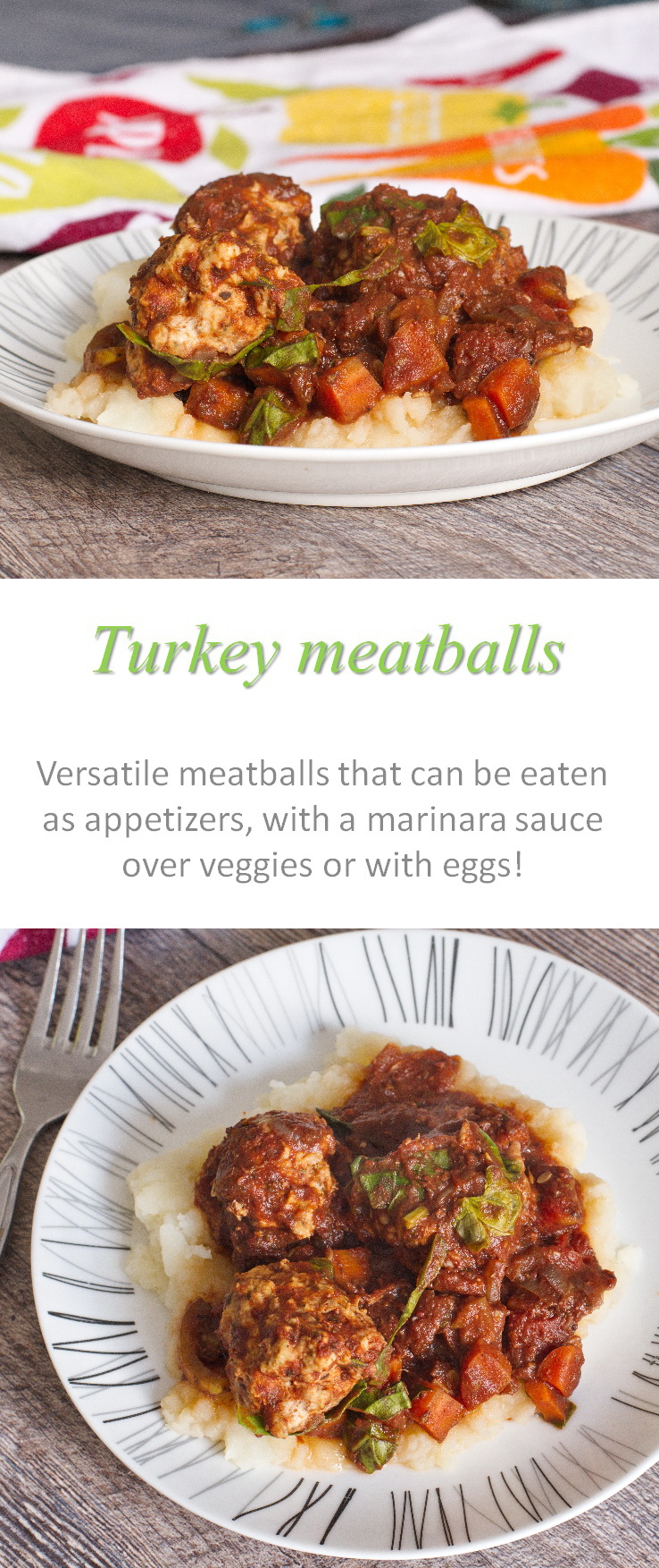 A Whole30 compliant, comforting meal of turkey meatballs in marinara sauce, full of flavor and veggies - great for any season! #meatballs