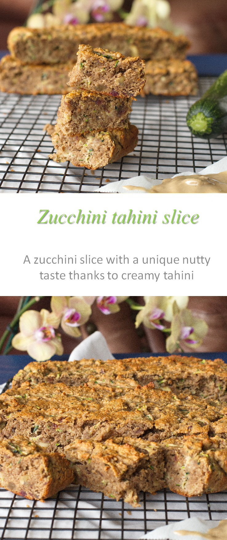 A healthy, Paleo-friendly zucchini tahini slice with a unique nutty taste and texture - a winner all round! #zucchini #tahini #cookathome #glutenfree #dairyfree #noaddedsugar